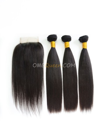 Indian Virgin Hair Yaki Straight Natural Color One Closure With 3pcs Hair Weaves High Quality Hair [IBC16]