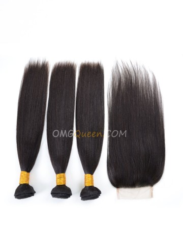 Clearance Natural Color Indian Virgin Hair Yaki Straight Bundles and Closure [SD38]