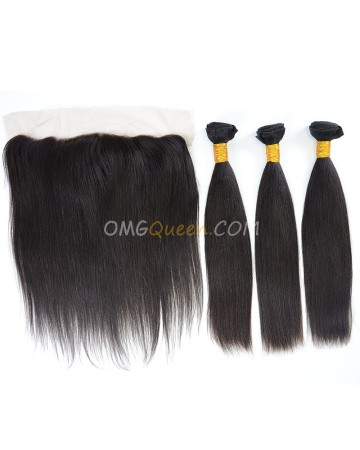 Indian Virgin Hair High Quality Yaki Straight Natural Color One Lace Frontal With 3pcs Hair Weaves [IBC33]