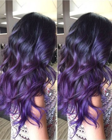Sexy Wavy Style Purple Ombre High Quality Human Hair Lace Wig [IMW19]