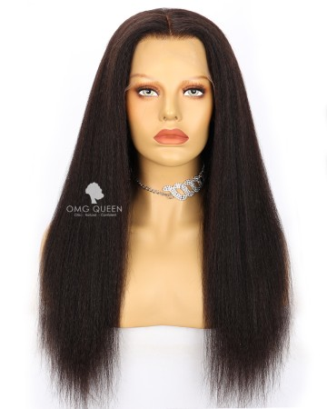Affordble Kinky Straight 13*6in Lace Front Wig Invisible Single Knots Virgin Brazilian Hair[SMW09]