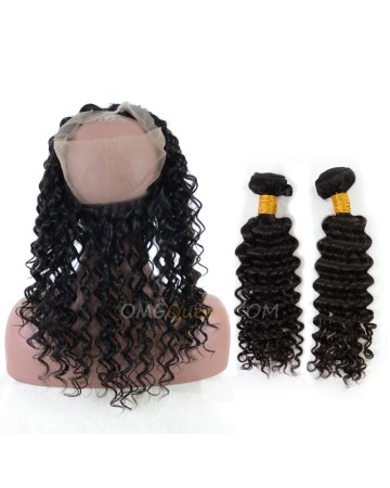 Good Quality Deep Wave One Pre-plucked 360 Lace Frontal With 2pcs Hair Weaves Bundle Deal Cheap Malaysian Virgin Hair [MBF06]