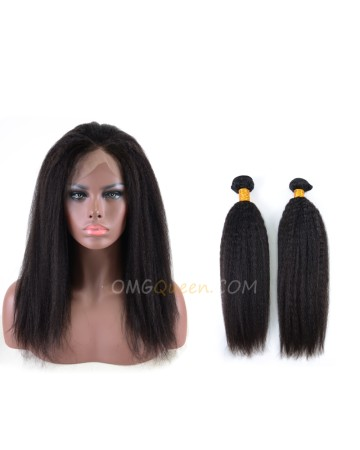 Kinky Straight One Pre-plucked 360 Lace Frontal With 2pcs Hair Weaves Bundle Deal Malaysian Virgin Hair [MBF03]