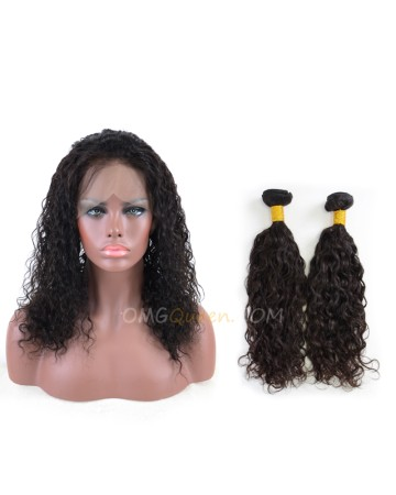 One Pre-plucked 360 Lace Frontal With 2pcs Hair Weaves Bundle Deal Malaysian Virgin Natural Curly Hair [MBF04]