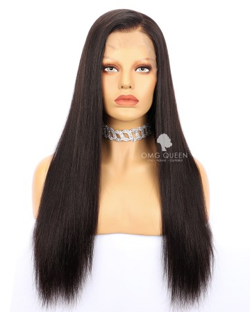 High Quality Natural Color Malaysian Virgin Hair Yaki Straight Full Lace Wigs [MFW04]