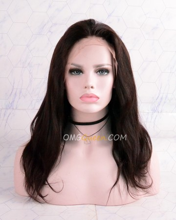 Clearance Indian Virgin 14in Natural color 150% Density Stright  Lace Front Wig [CS122]