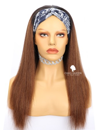 Chestnut Brown Light Yaki Headband Wig Affordable Virgin Human Hair [HBW07]