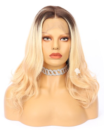 Ciara Style Sexy Wave High Quality Indian Virgin hair Ombre Blonde Lace Wig [IMW02]