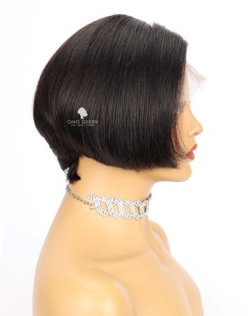 Affordable Short Silky Straight Bob Lace Wig Glueless Wig Virgin Bazilian Hair [BMW29]