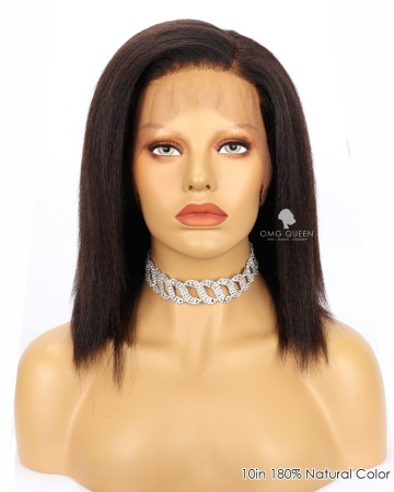 Shoulder Length Kinky Straight Virgin Brazilian Hair 360 Wig  [FS15]