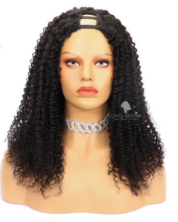 Super Easy Kinky Curly Human Hair U Part Wigs [UPW01]