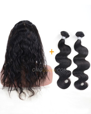 Body Wave One Pre-plucked 360 Lace Frontal With 2pcs Hair Weaves Bundle Deal Virgin Brazilian Hair [BBF02]