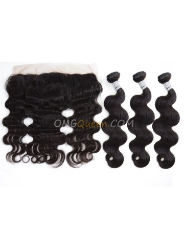 Unprocessed Hair One Lace Frontal With 3pcs Hair Weaves Virgin Brazilian Hair Natural Color Body Wave [BBC32]