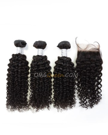 Clearance Natural Color Virgin Brazilian Hair Curl Wave Bundles and Closure [SD51]