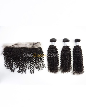 Virgin Brazilian Hair Curly Wave One Lace Frontal With 3pcs Hair Weaves Natural Color Unprocessed Hair [BBC37]