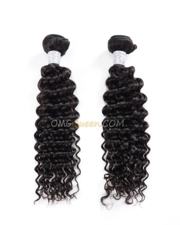 Natural Color Deep Wave 2pcs Hair Weave/Weft Virgin Brazilian Unprocessed Hair [BHW18]