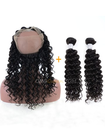 Good Quality Deep Wave One Pre-plucked 360 Lace Frontal With 2pcs Hair Weaves Bundle Deal Cheap Virgin Brazilian Hair [BBF06]