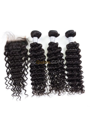 Virgin Brazilian Hair Natural Color Deep Wave One Closure With 3pcs Hair Weaves Unprocessed Hair  [BBC18]