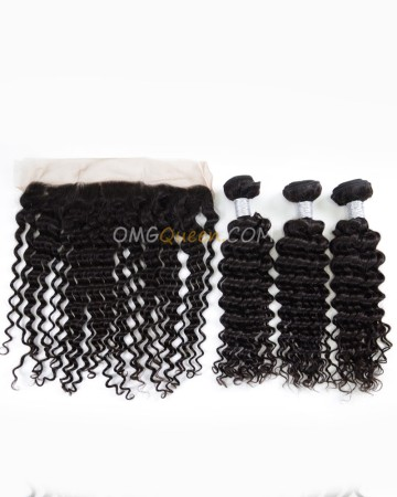 Deep Wave One Lace Frontal With 3pcs Hair Weaves Virgin Brazilian Hair Natural Color Unprocessed Hair [BBC36]