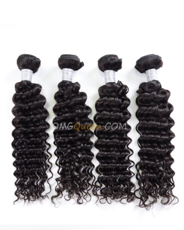 Deep Wave Virgin Brazilian Hair Natural Color 4pcs Hair Weave/Weft Unprocessed Hair [BHW38]
