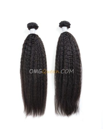 Kinky Straight 2pcs Hair Weave/Weft Natural Color Brazilian Virgin Unprocessed Hair [BHW15]