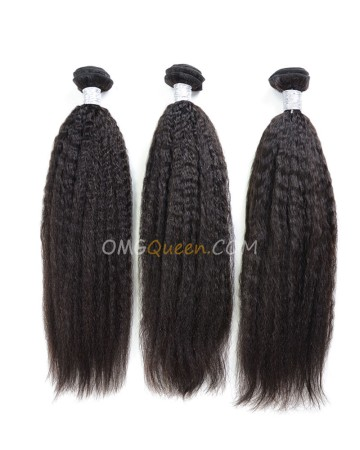 Kinky Straight 3pcs Brazilian Virgin Natural Color Hair Weave/Weft Unprocessed Hair [BHW25]