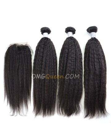 Clearance Natural Color Virgin Brazilian Hair Kinky Straight Bundles and Closure [SD47]