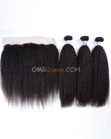 Virgin Brazilian Hair Kinky Straight One Lace Frontal With 3pcs Hair Weaves Natural Color Unprocessed Hair [BBC39]
