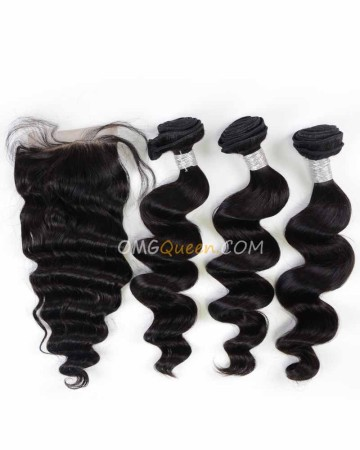 Natural Color Virgin Brazilian Hair Loose Wave One Closure With 3pcs Hair Weaves Unprocessed Hair  [BBC13]