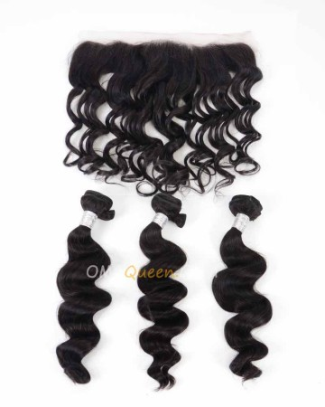 Unprocessed Hair Loose Wave One Lace Frontal With 3pcs Hair Weaves Virgin Brazilian Hair Natural Color [BBC33]