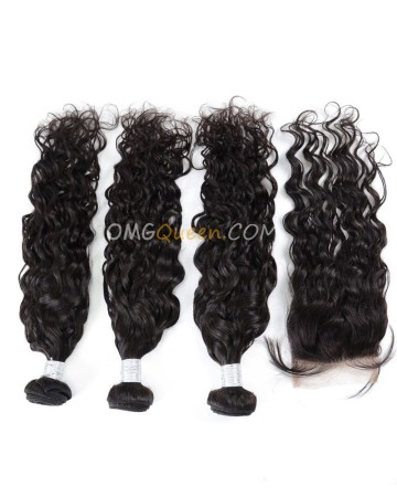 Natural Curly Natural Color Virgin Brazilian Hair One Closure With 3pcs Hair Weaves Unprocessed Hair  [BBC17]