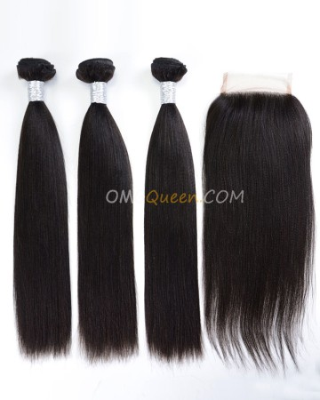 Natural Color Virgin Brazilian Hair Yaki Straight One Closure With 3pcs Hair Weaves Unprocessed Hair  [BBC16]