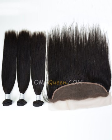 Unprocessed Yaki Straight One Lace Frontal With 3pcs Hair Weaves Virgin Brazilian Hair Natural Color [BBC34]