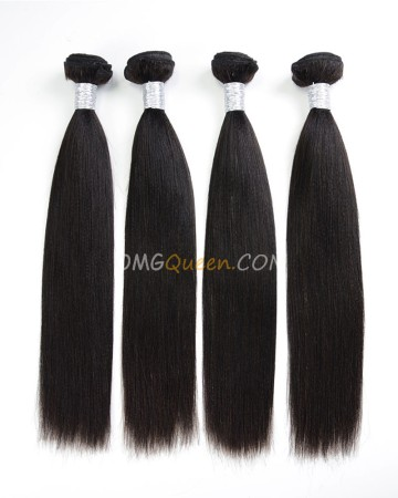 Unprocessed Hair Natural Color Yaki Straight Virgin Brazilian Hair 4pcs Hair Weave/Weft [BHW34]