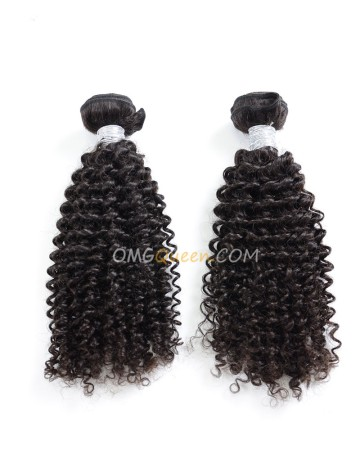 Natural Color Kinky Curl 2pcs Virgin Brazilian Hair Weave/Weft Unprocessed Hair [BHW14]