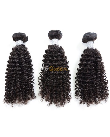 Kinky Curl 3pcs Hair Weave/Weft Virgin Brazilian Natural Color Unprocessed Hair [BHW24]