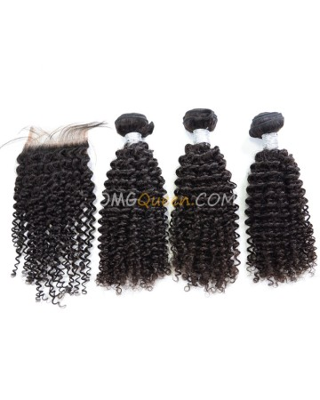 Clearance Natural Color Virgin Brazilian Hair Kinky Curl Bundles and Closure [SD50]