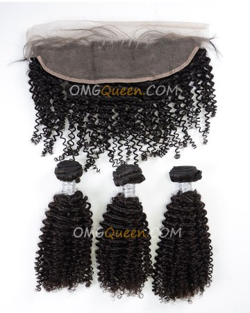 Virgin Brazilian Hair Kinky Curl One Lace Frontal With 3pcs Hair Weaves Natural Color Unprocessed Hair [BBC38]