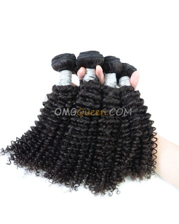Kinky Curl Virgin Brazilian Hair Natural Color 4pcs Hair Weave/Weft Unprocessed Hair [BHW39]