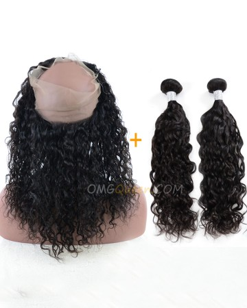 One Pre-plucked 360 Lace Frontal With 2pcs Hair Weaves Bundle Deal Virgin Brazilian Hair Natural Curly Hair [BBF04]