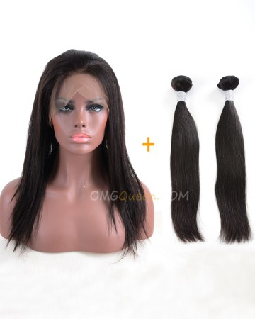 One Pre-plucked 360 Lace Frontal With 2pcs Hair Weaves Bundle Deal Virgin Brazilian Hair Silky Straight Hair [BBF01]