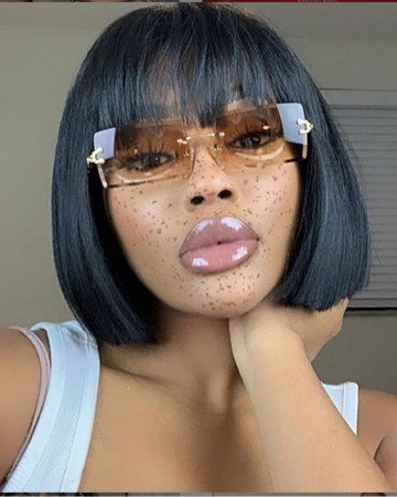 Affordable Short Straight Bob Lace Wig Glueless Air Bangs Wig Virgin Bazilian Hair [BMW32]