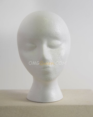 White Emubody Styrofoam Foam Mannequin Female Head Model [CT26]