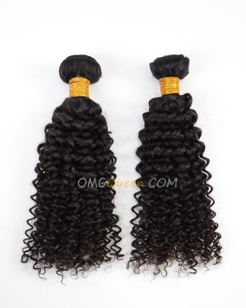 Natural Color Curly Wave Virgin Indian 2pcs Hair Weave/Weft High Quality Hair [IHW19]