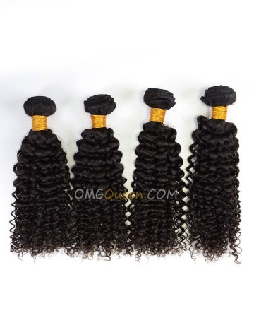 Indian Virgin Hair High Quality Curly Wave Natural Color 4pcs Hair  Weave/Weft  [IHW38]
