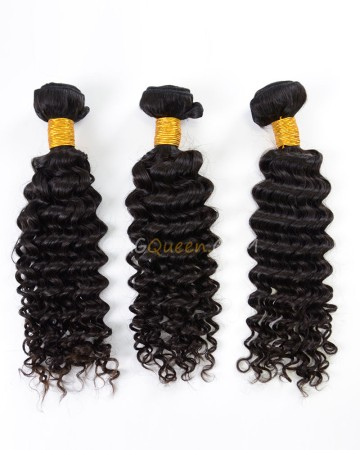 Natural Color Deep Wave 3pcs Hair Weave/Weft Indian Virgin High Quality Hair [IHW28]
