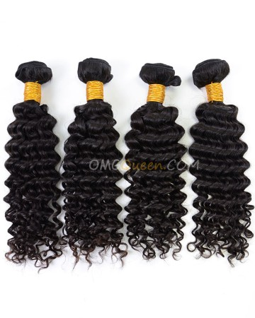 High Quality Deep Wave Indian Virgin Hair Natural Color 4pcs Hair  Weave/Weft  [IHW37]