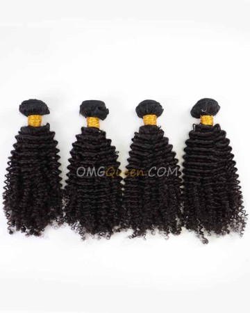 Indian Virgin Hair High Quality Kinky Curl Natural Color 4pcs Hair  Weave/Weft  [IHW39]
