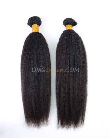 Kinky Straight 2pcs Natural Color Hair Weave/Weft High Quality Indian Virgin Hair [IHW15]