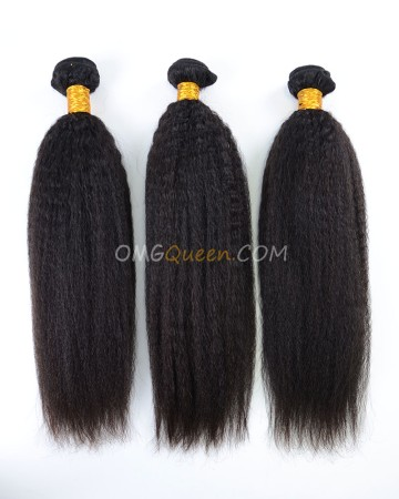 Natural Color Virgin Indian Kinky Straight 3pcs Hair Weave/Weft High Quality Hair [IHW25]